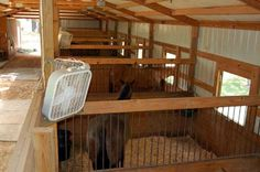 Overhead fans would be much preferred verses just bunging them to the stall.