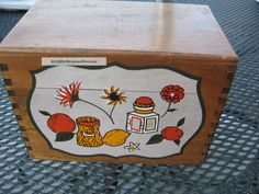 ... Dovetailed Recipe Box W Painted Decal & Blank Recipe Cards Boxes photo