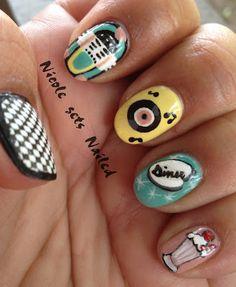 awesome Nicole gets Nailed: I Should Have Been Born In. Marble Nail Designs, Cool Nail Designs, Lego Nails, Cute Nails, Pretty Nails, Rockabilly Nails, Vintage Nails, Cool Nail Art, Halloween Nails