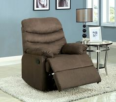 A.M.B. Furniture & Design :: Rockers & Recliners :: Coffee Brown Pleasant Valley Microfiber Wide Seat Plush Cushions Recliner