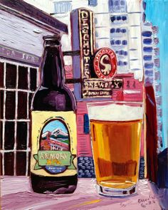 Beer Painting of Armory XPA by Deschutes Brewing Company. Year of Beer Paintings - Day Craft Beer Gifts, Bee Painting, Beer Art, Artwork Ideas, Brew Pub, Brewing Company, Wood Paneling, Pint Glass, Paintings