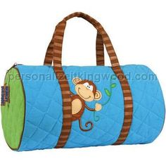 db1105ca59f2 Monkey Quilted Duffle Bag by Stephen Joseph Paper and Polka Dots.  Personalize It