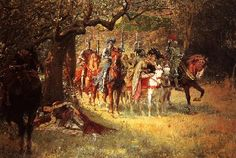"Avalon Camelot King Arthur:  ""Four Queens Find Lancelot Sleeping,"" by William Calderon."