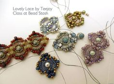 """Samples from Carole Ohl's """"Lovely Lace Bracelet"""" class. Download the free pattern here: http://craftyinspirationbylinda.blogspot.com/2014/08/free-beading-tutorial-lovely-lace.html"""