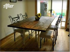 Home Design , Excellent Rustic Dining Room Sets With Spacious Rectangular Table Excellent Rustic Dining Room Sets With Spacious Rectangular Table Comfortable Chair Covers Elegant Corridor Wonderful Wooden Floor Rustic Dining Room Sets, Narrow Dining Tables, Large Dining Room Table, Table For Small Space, Dining Room Design, Dining Chairs, Small Spaces, Dining Rooms, Farmhouse Table Plans