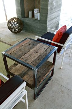 nice looking steel and wood side table    Welding and wood!