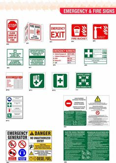 EMERGENCY AND FIRE SIGNS Fire Doors, Fire Signs, No Response, Safety, Security Guard