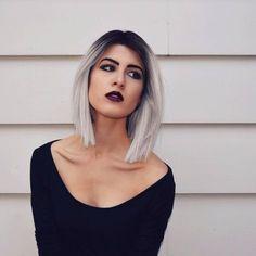 Dark roots, white hair