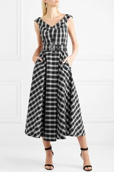 Michael Kors Collection | Belted checked cotton-blend poplin midi dress | NET-A-PORTER.COM