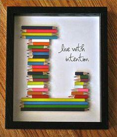 Colored pencils letter art