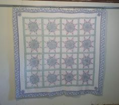 Lg Vintage Hand Stitched Sewn Country Star Arch Quilts Coverlet Blanket 77 x 79