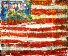Spot of Color- encaustic flags.  Collage words from magazine that describe student.  White wash over the magazine clippings.  Draw flag in reverse on very fine grit sandpaper with crayon.  Turn sandpaper over and iron to melt the crayon onto the white paper.
