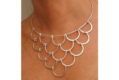 155585362098460233 Wire Necklace   Silver Waves by wiredesignbydanilo on Etsy