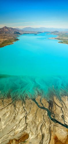 From the air Lake Tekapo, South Island, New Zealand