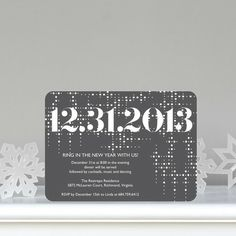 Sequin Sparkle - Flat Holiday Party Invitations in Charcoal Gray