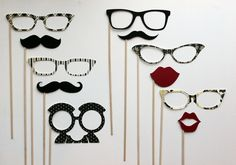 Photo booth Props on a Stick - The  Black Tie Affair. $35.00, via Etsy.