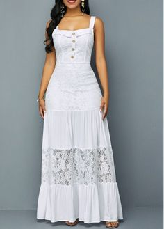 Long Maxi Dresses Lace Patchwork Ruffle Hem Button Detail Dress