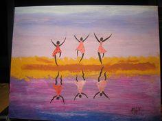 3 Ladies Dancing on the  Beach.    5-13.
