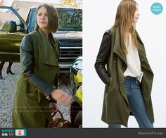 Thea's green draped coat with leather sleeves on Arrow.  Outfit Details: http://wornontv.net/54594/ #Arrow