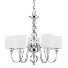 Quoizel - DW5005C - Downtown Polished Chrome 5 Light Chandelier Lamps.com