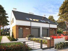 Projekt domu z poddaszem Eco 16 - dwulokalowy o pow. 224,44 m2 z obszernym garażem, z dachem dwuspadowym, z tarasem, sprawdź! Ideas Para, Garage Doors, Interior Design, Outdoor Decor, Modern Houses, Home Decor, Dots, Nest Design, Modern Homes