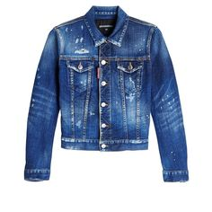 Dsquared2 Distressed Denim Jacket (151.500 HUF) ❤ liked on Polyvore featuring outerwear, jackets, blue, dsquared2, jean jacket, distressed jacket, dsquared2 jacket and denim jacket