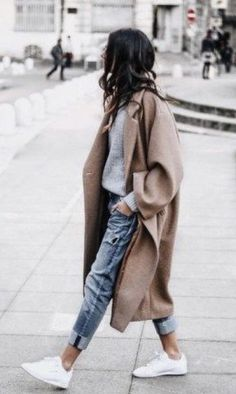 Women Long Outerwear Warm Fashion Coat – Outfit World – All Outfit Ideas For You Mode Outfits, Fall Outfits, Fashion Outfits, Womens Fashion, Fashion Trends, Sneakers Fashion, Outfit Winter, Fashion Ideas, Ootd Winter