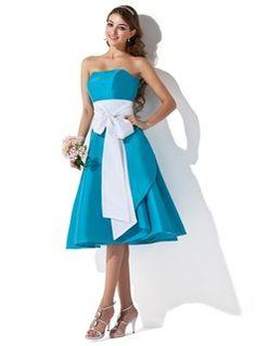 A-Line/Princess Sweetheart Tea-Length Taffeta Bridesmaid Dresses With Sash (007004276)