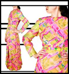 1970s Psychedelic Maxi Dress / 70s Chiffon Boho by recollectvint