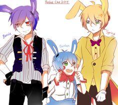 Fnaf Human Bonnie, Toy Bonnie (Bon Bon) & Golden Bonnie (Springtrap)