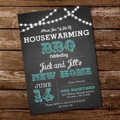 Chalkboard Housewarming BBQ Invitation  by SunshineParties on Etsy, $5.00