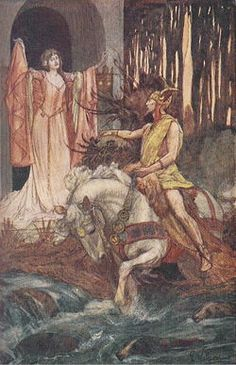 Blodeuwedd meets Gronw Pebr.  Source = 'Celtic Myth & Legend', Charles Squire