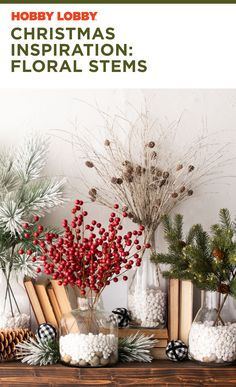 Find inspiration this Christmas with floral stem accents at your local Hobby Lobby®. Christmas Decorations, Table Decorations, Christmas Inspiration, Hobby Lobby, Happy Holidays, Floral Wedding, Christmas Time, Merry, Rustic