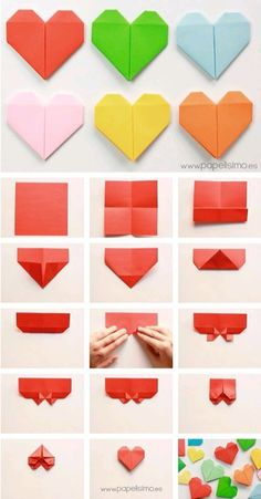 Origami paper hearts — can be used as bookmarks, love notes, package decoration, strung together in a chain…many creative option! (Instructions are in Spanish) - balconydecoration. how to make origami paper heart san valentin step by step diy Easy ori Instruções Origami, Origami Bookmark, Paper Crafts Origami, Useful Origami, Origami Flowers, Origami Hearts, Origami Ball, Origami Tattoo, Dollar Origami