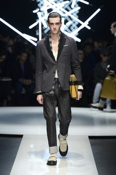 Double cashmere jacket with contrasting interior, high-cuffed jeans, textured calfskin document holder #CanaliFW15 #FW15 #moda #fashion #mfw #jacket