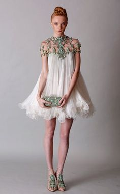 Mint hand pleated silk tulle dress with embroidered cascade detail