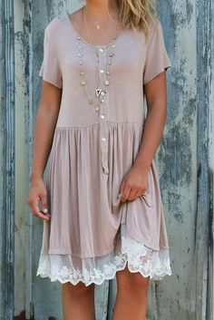 Write Me A Love Song Short Sleeve Beige Dress With Lace Hem