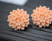 Silver lotus designs handmade earrings in tangerine