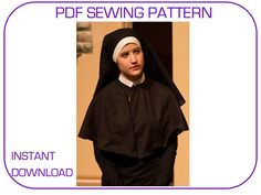 PDF sewing pattern for Postulant costume veil and capelet.