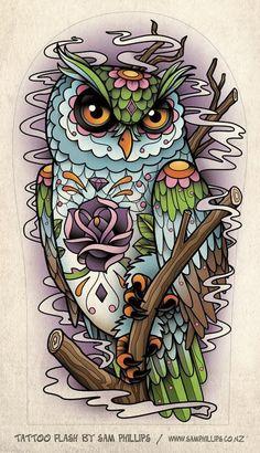 Sugar skull owl tattoo design