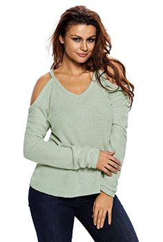 afb6547d65862 Womens Cold Open Shoulder Loose Knitted Sweater Top Blouse  coldshouldertop Cold  Shoulder