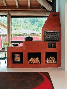 either side of our fireplace and will also be shelfs Hacienda Style, Rocket Stoves, Kitchen Styling, Kitchen Interior, Decoration, My House, Sweet Home, Cottage, Backyard