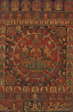 Mandala of the Sun God Surya This superb mandala is devoted to the solar deity Surya and bears a date most likely read as 1379, making it one of only two known Nepalese paintings of the fourteenth century. It carries the name of both the principal donor and the artist—the latter an extremely rare occurrence in Himalayan art—and declares that it was painted when the donor performed a ceremony so that he might be forgiven for negative karma. This ritual is depicted in the bottom register, with…