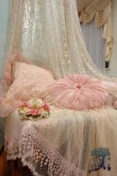 Shabby Chic Pink & Lace~❥This is gorgeous, so elegant !  Roo's room, adorable !