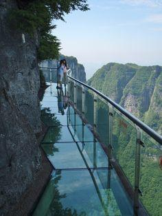 Dangerous glass walkway on Tianmen Mountain, Hunan, China.