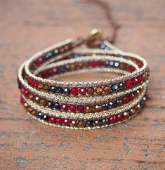 Red Crystals mix wrap bracelet with chain, Boho bracelet, Bohemian bracelet, Beadwork bracelet