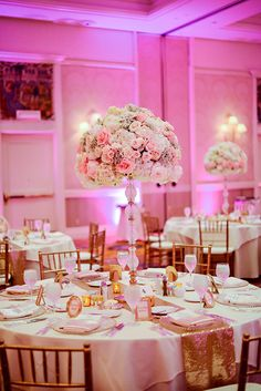 Pretty in pink romantic wedding reception decor at Disney's Grand Floridian Resort & Spa