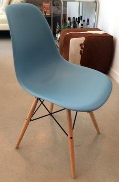 1 Blue Eames Molded Plastic Dowel-Leg Side Chair Howell Furniture, Plastic Molds, Eames, Side Chairs, Blue, Home Decor, Decoration Home, Room Decor, Chairs