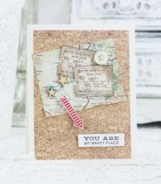 You Are My Happy Place, part 2 | Dietrich Designs - handmade card inspired by a bulletin board, using a real piece of a map, sentiment from Altenew, button, wooden stars from Studio Calico.