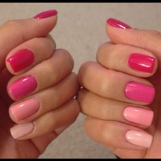 OMBRE NAILS :: Pink Ombre Nails :: Thumb to Pinky: Gelish Less Talk, Gelish Gossip Girl, Shellac Hot Pop Pink, Gelish Take Action, Gelish Pink Smoothie | #msbeautybee